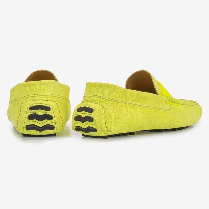 Premium fluorescent yellow leather moccasin