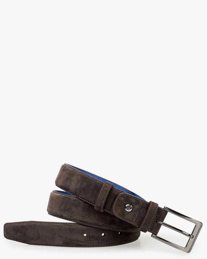 Belt suede leather dark brown