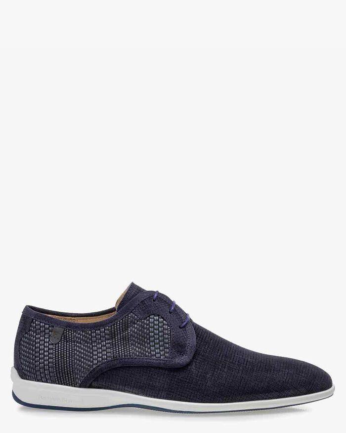 Lace shoe suede leather blue