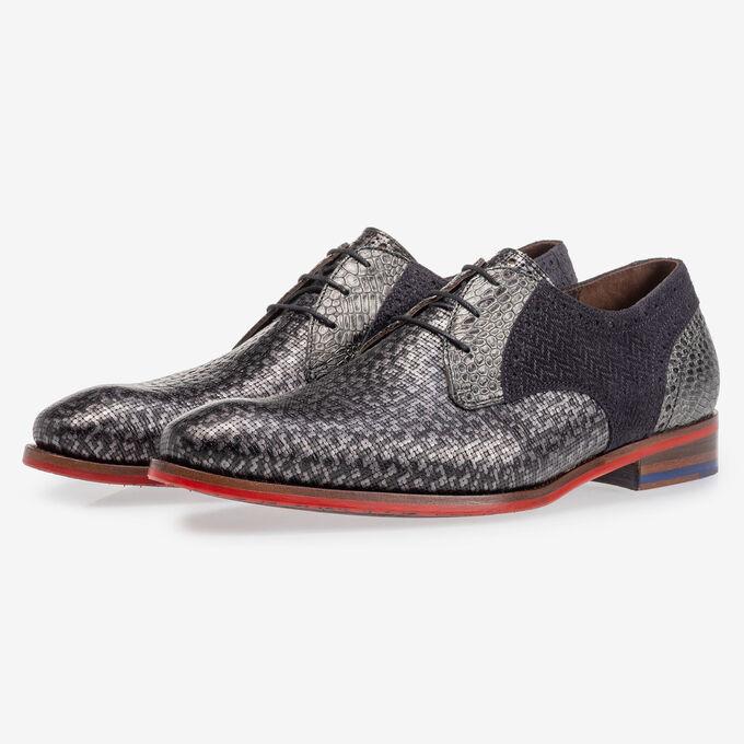 Lace shoe grey metallic