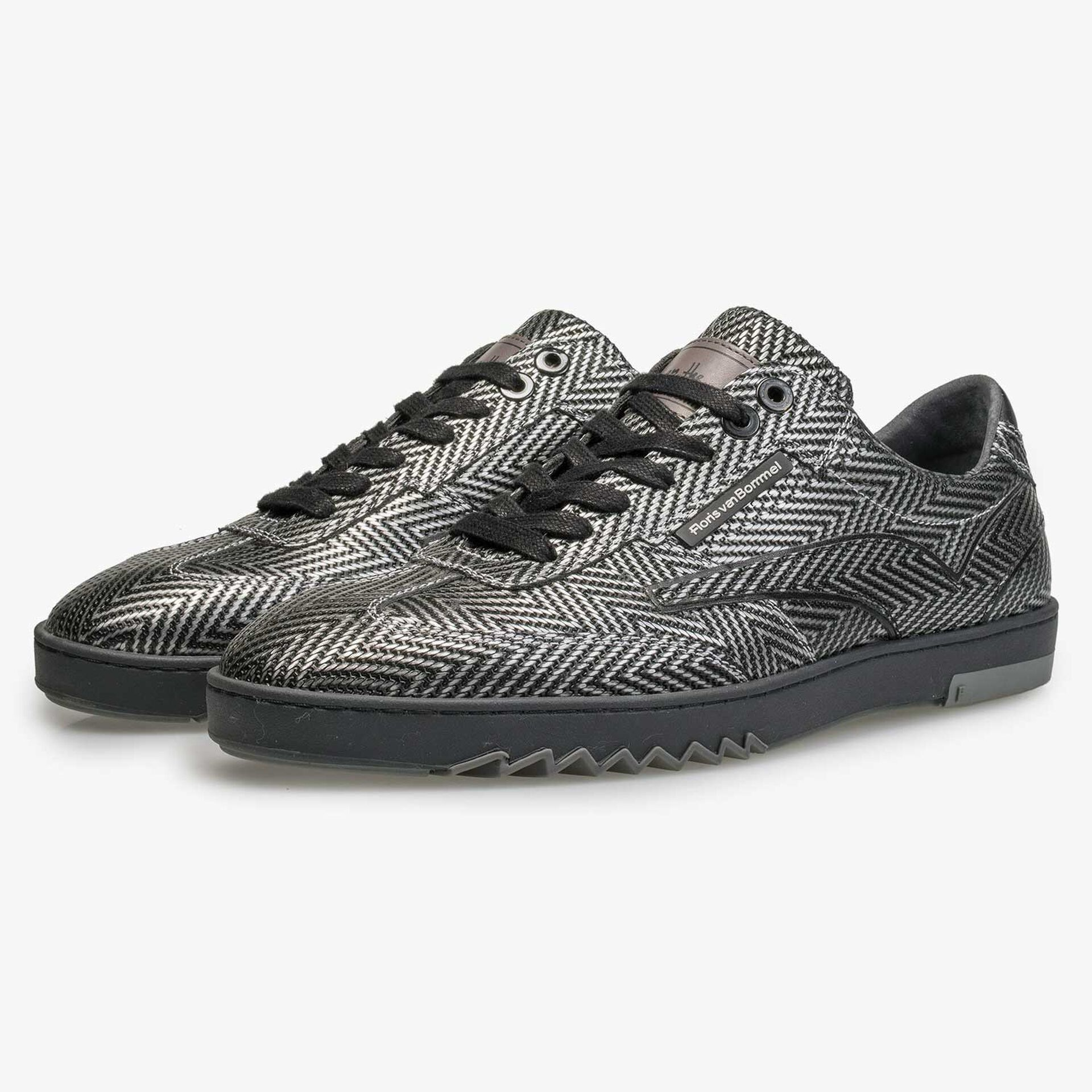 Premium sneaker with metallic herringbone pattern