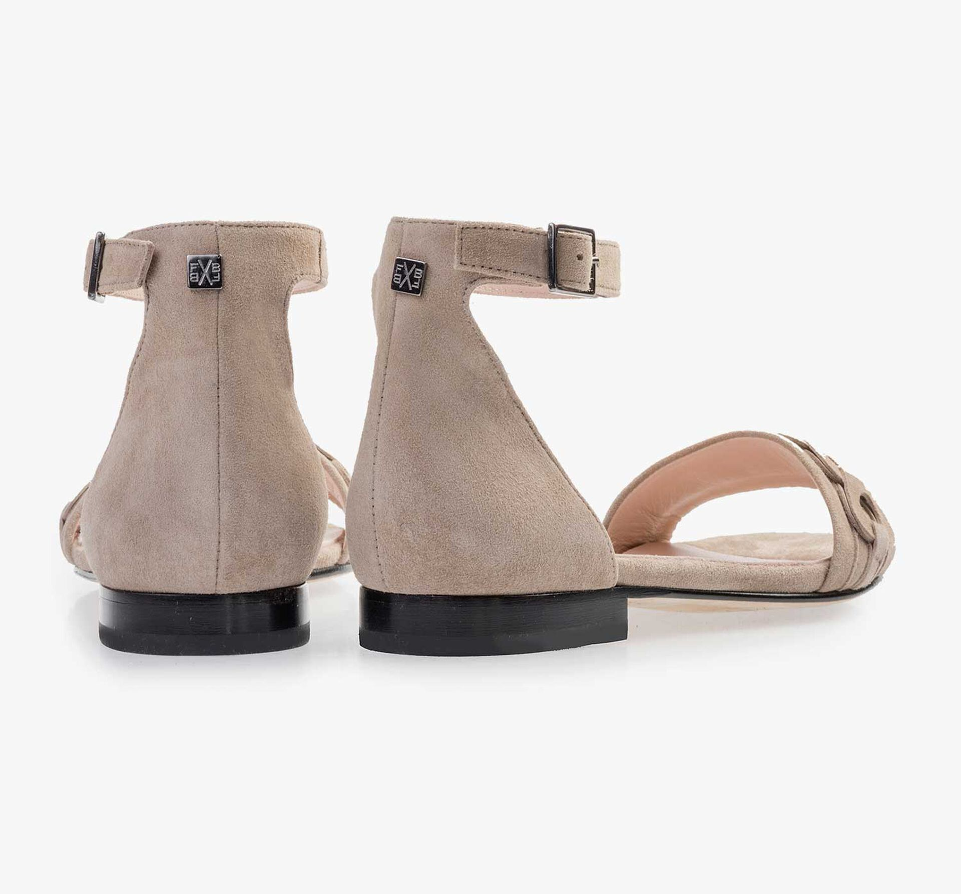 Taupe-coloured calf's suede leather heeled sandal