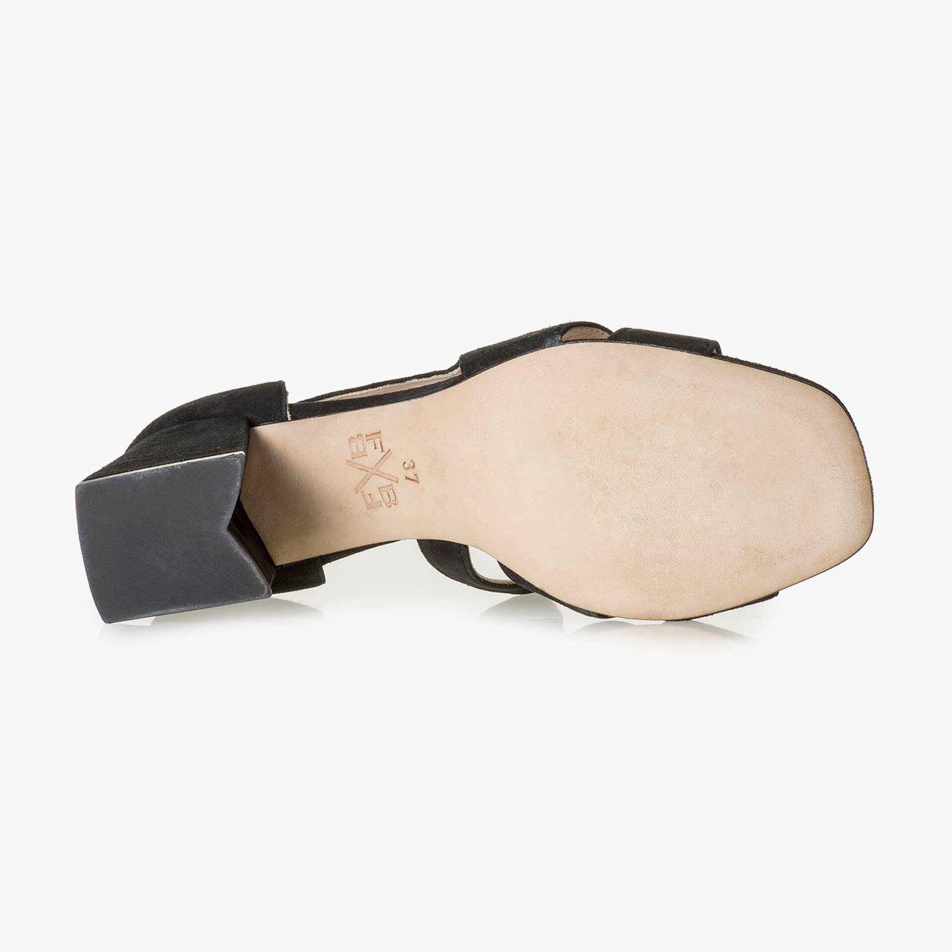 Black high-heeled suede leather sandal