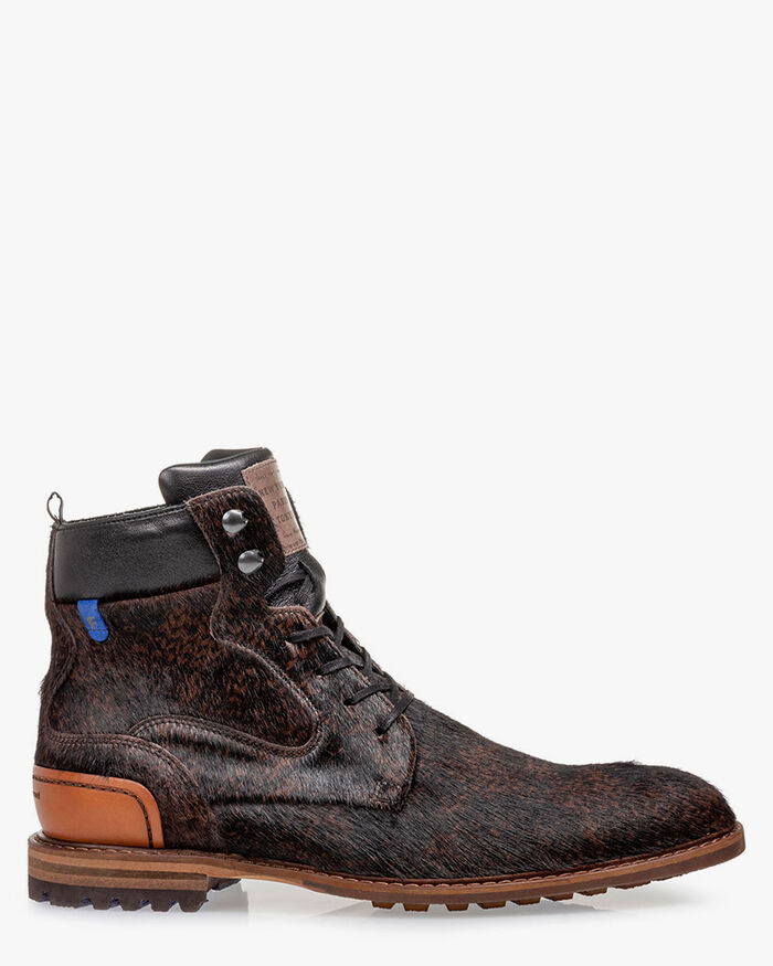 Lace boot pony brown