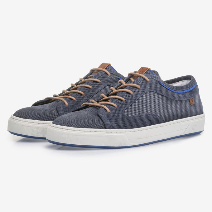 Dark blue suede leather lace shoe with print