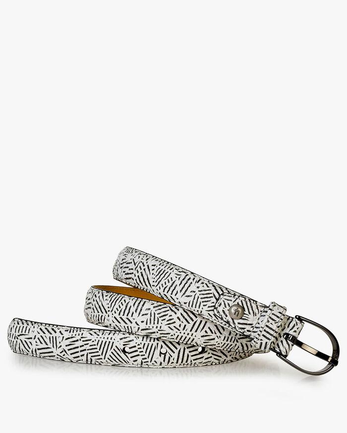 Belt printed leather black & white