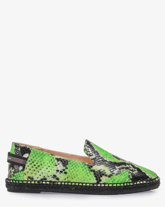 Fluorescent green espadrilles