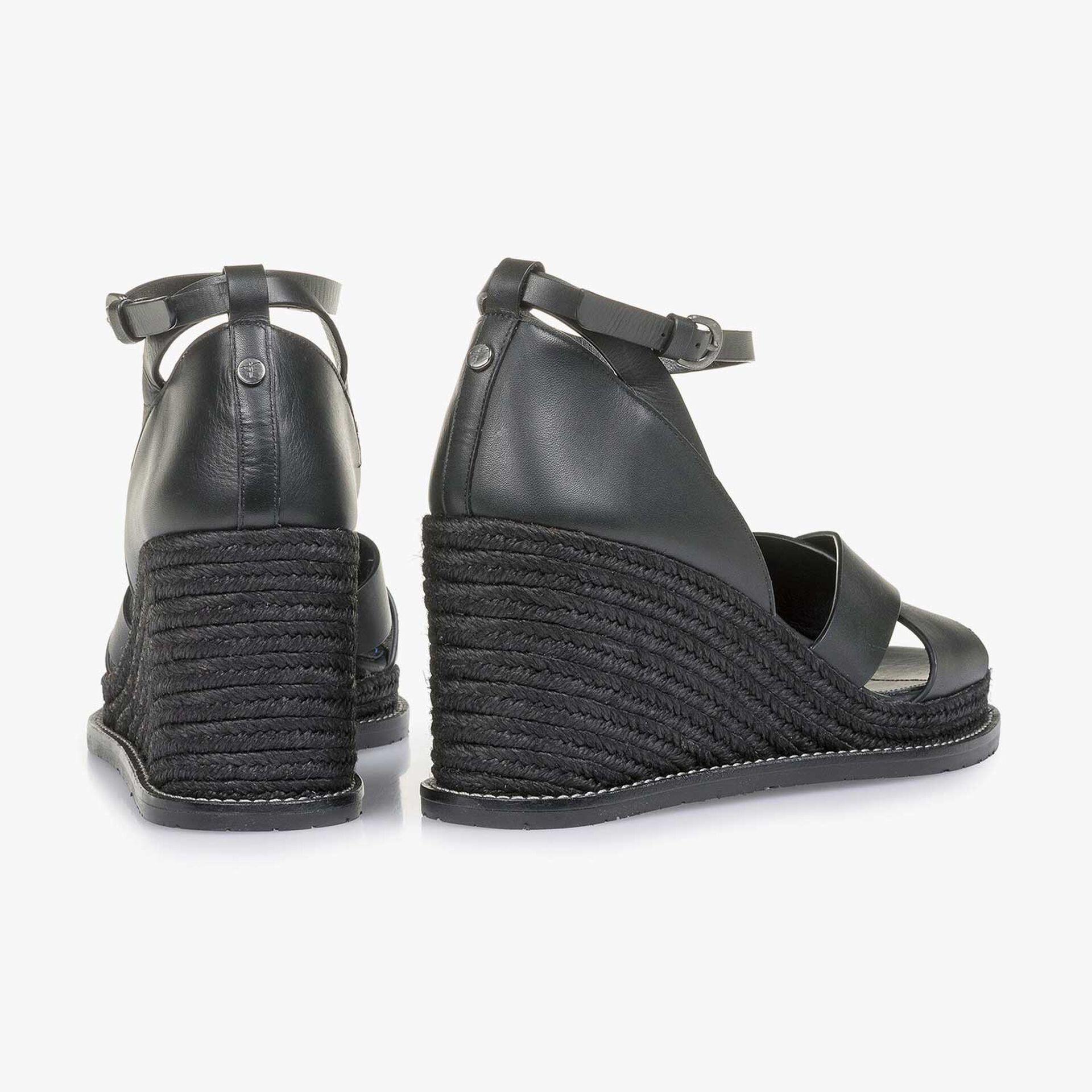Black wedge-heel sandal