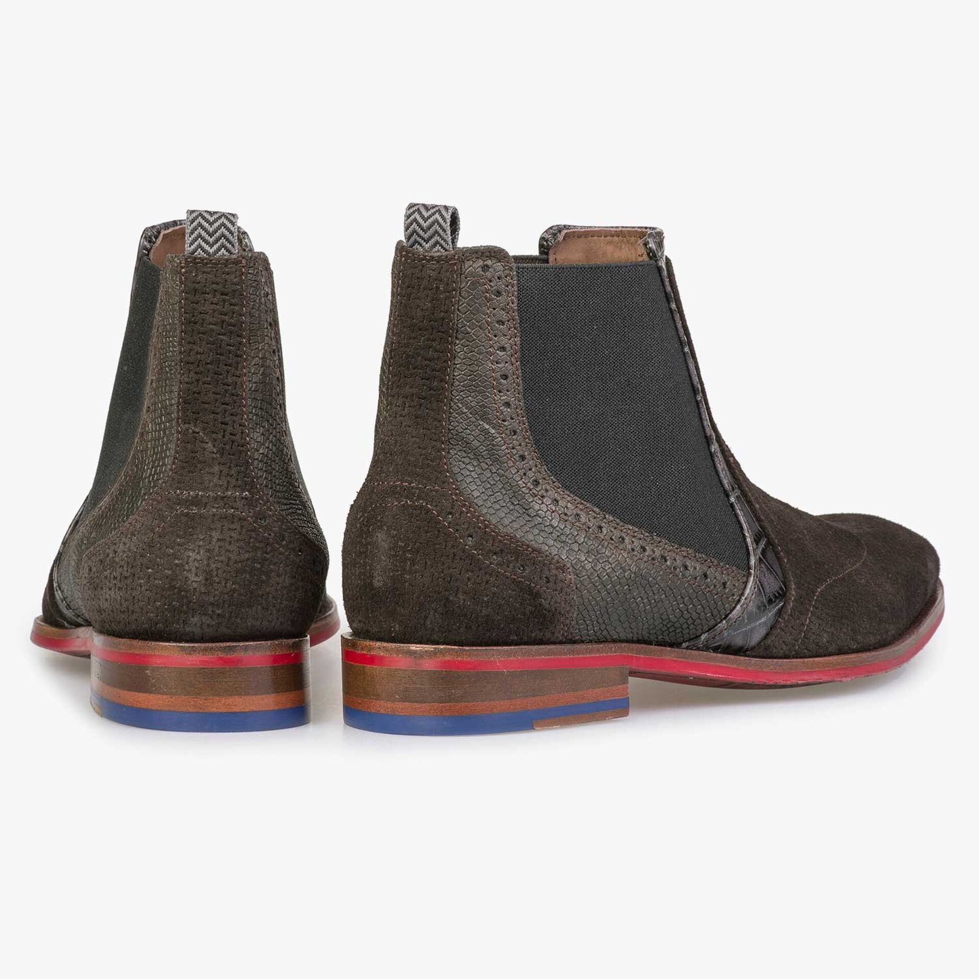 Brown Chelsea boot with structural pattern