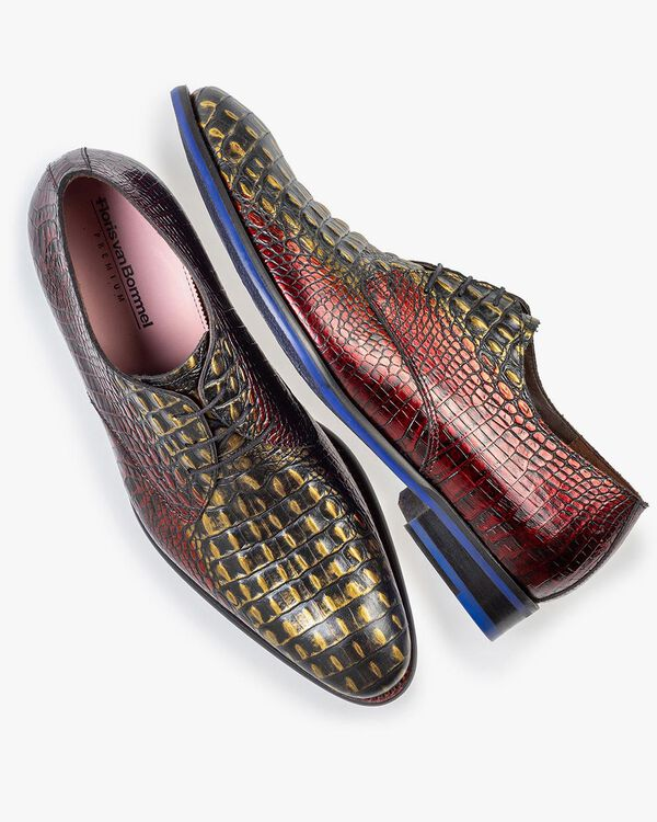 Lace shoe red croco leather