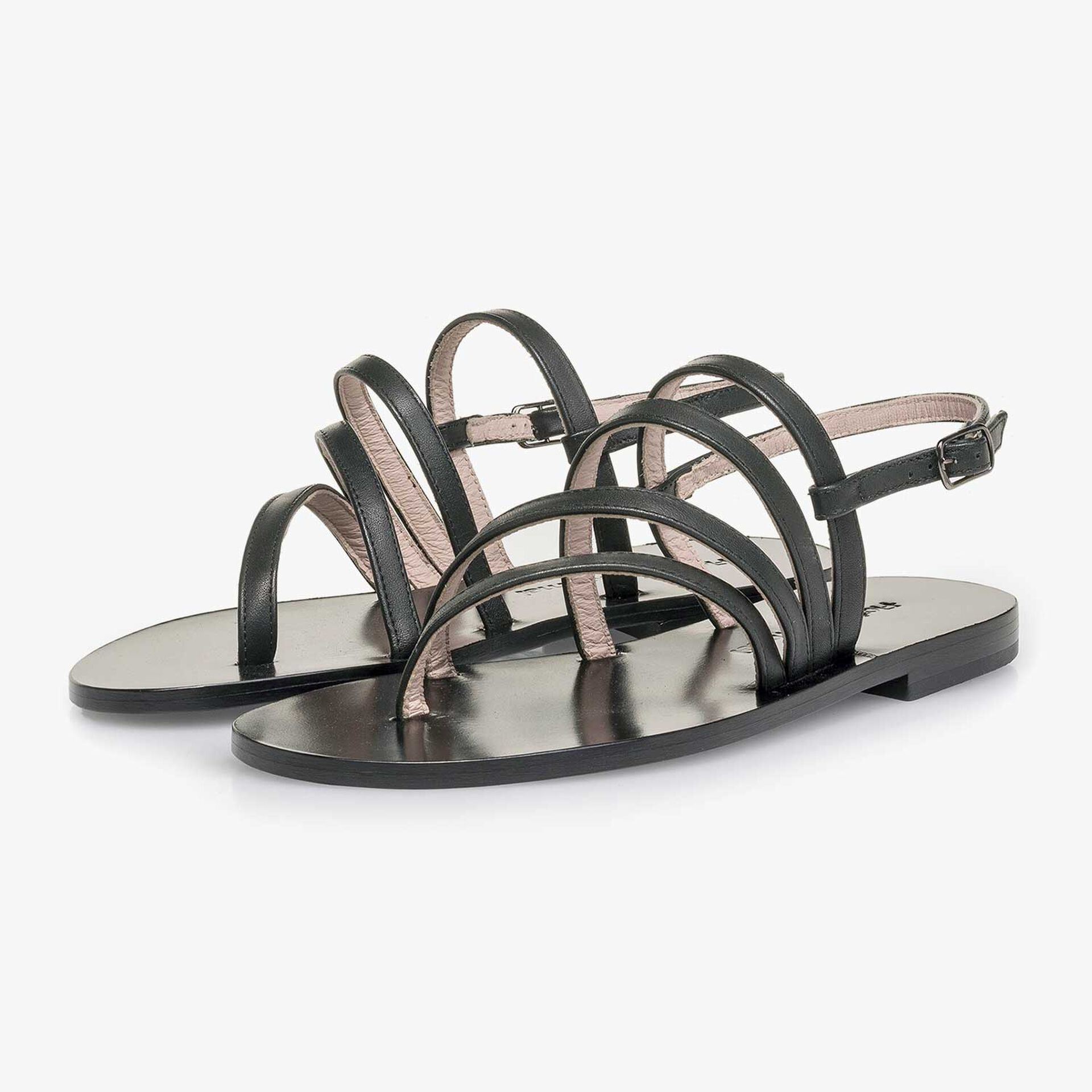 Black calf leather sandal