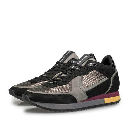 Suede sneaker with metallic print