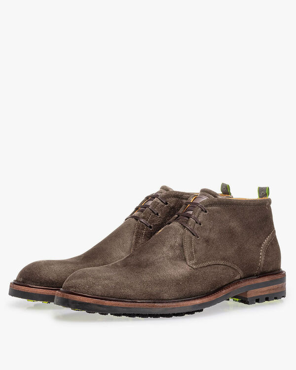 Lace boot suede leather dark taupe