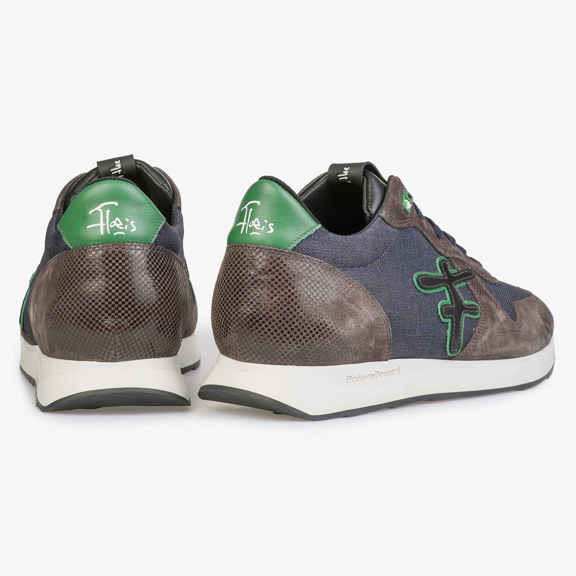 Blue/ Green canvas sneaker with green accents