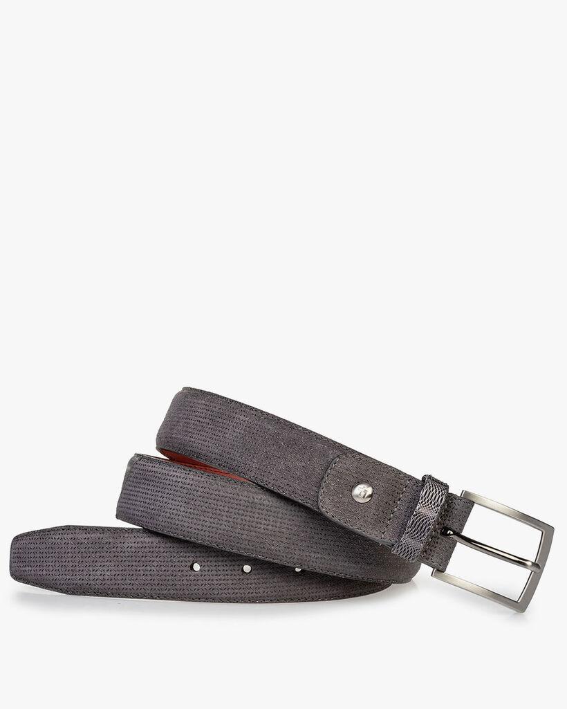 Suede leather belt dark grey with print