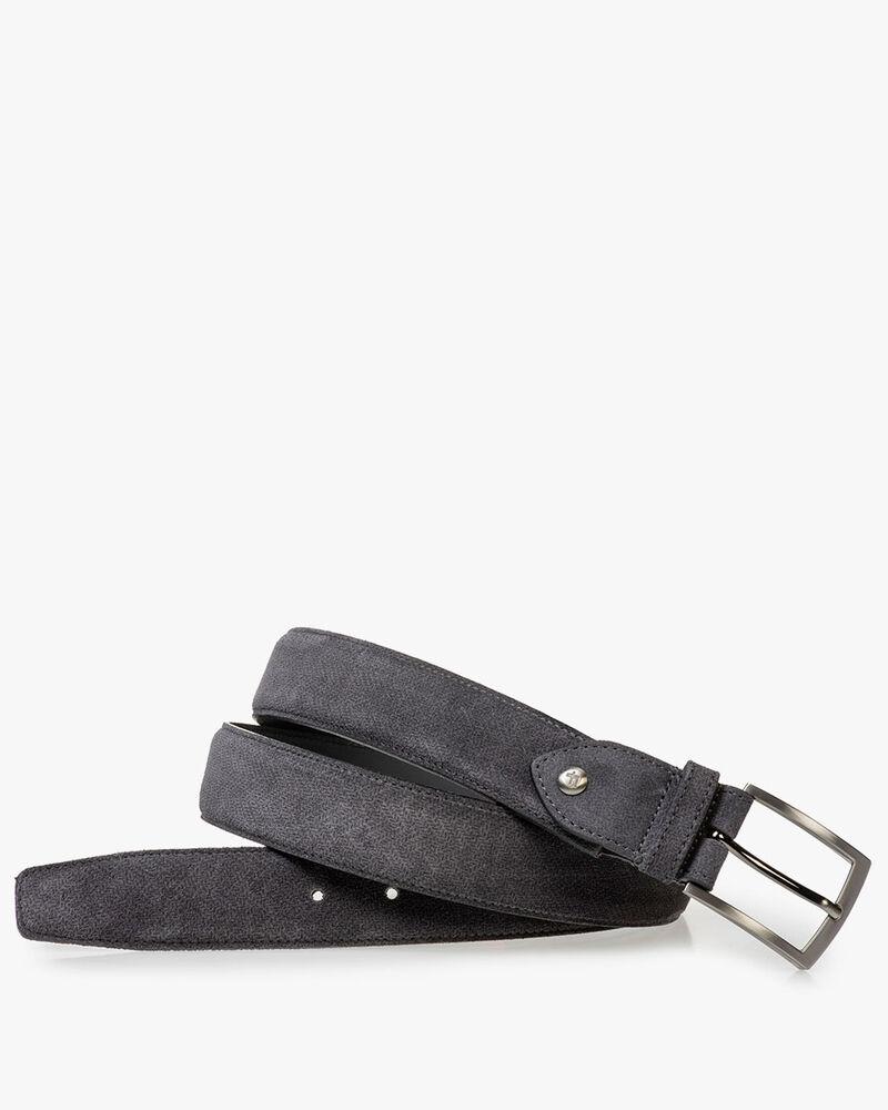 Dark grey suede leather belt with print