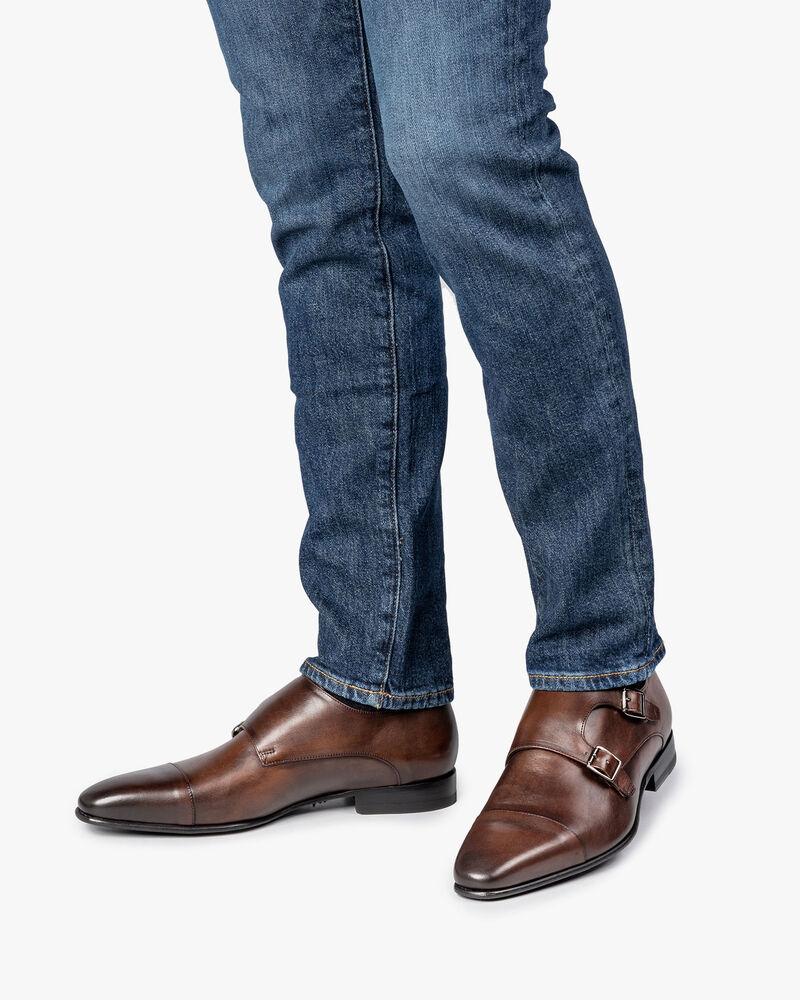 Dark brown calf leather monk strap