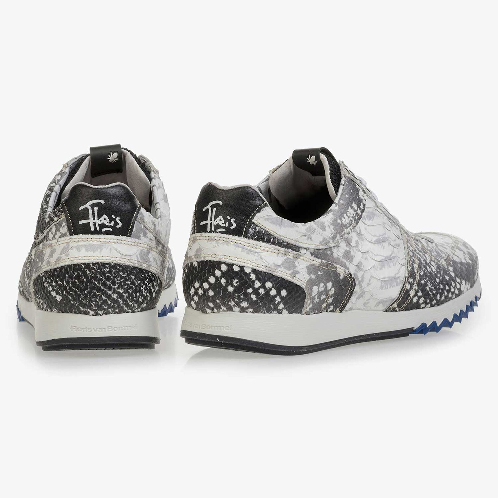 Grey leather sneaker with snake print