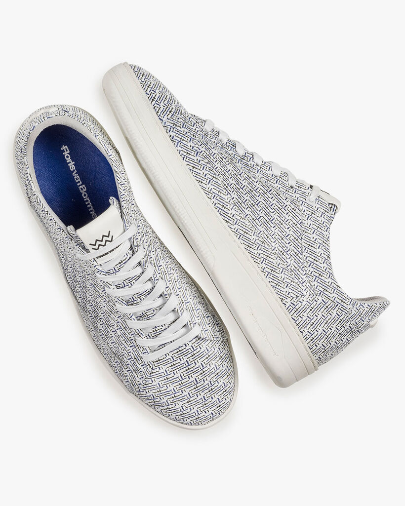 White leather sneaker with blue print