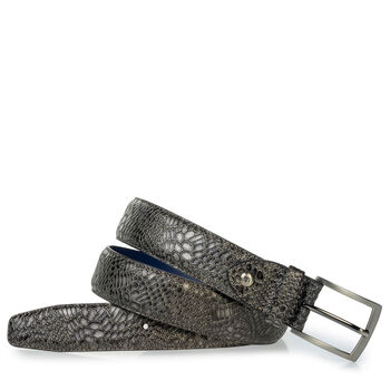 Leather belt metallic print grey