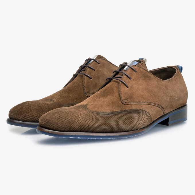 Brown calf suede leather lace shoe with a laser-cut pattern
