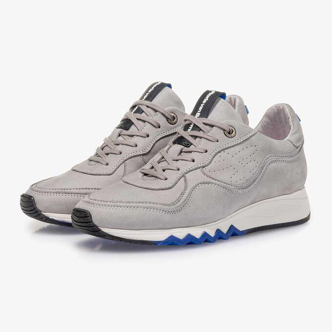Light grey nubuck leather sneaker