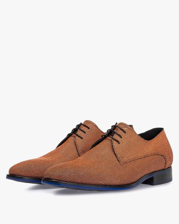 Lace shoe printed suede leather orange