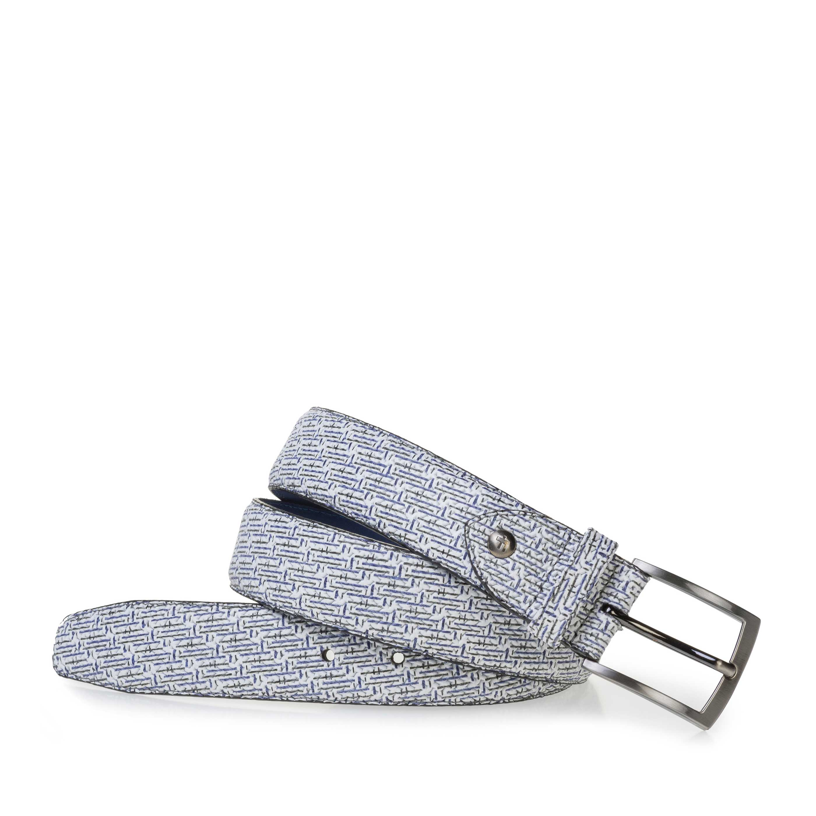 75201/91 - White leather belt with blue print