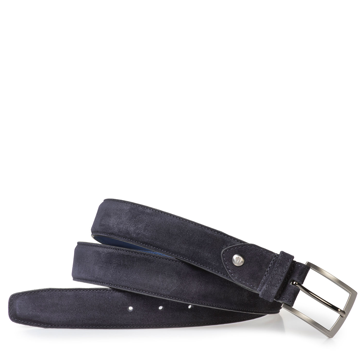 75201/74 - Dark blue suede leather belt with print