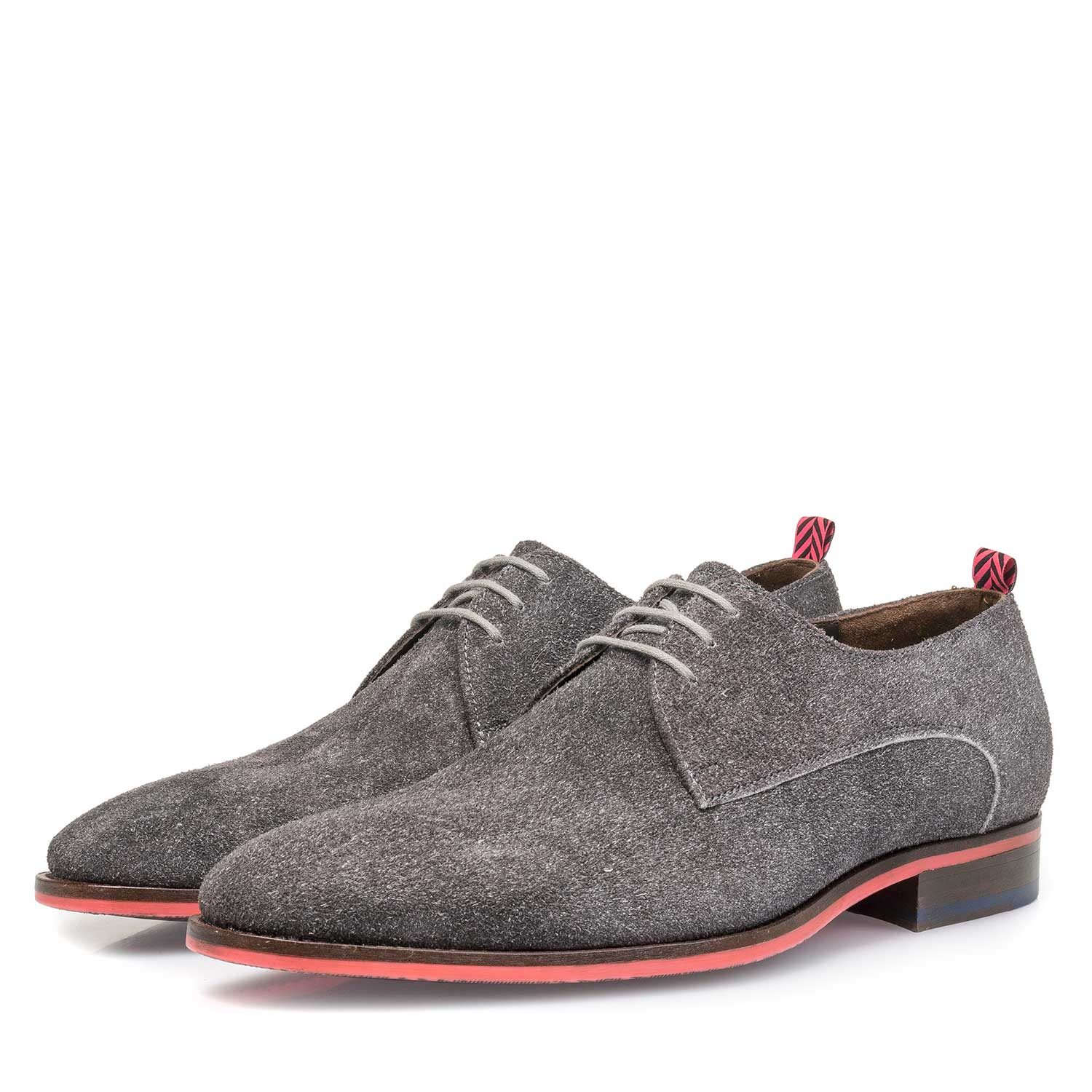 18092/00 - Grey buffed suede leather lace shoe