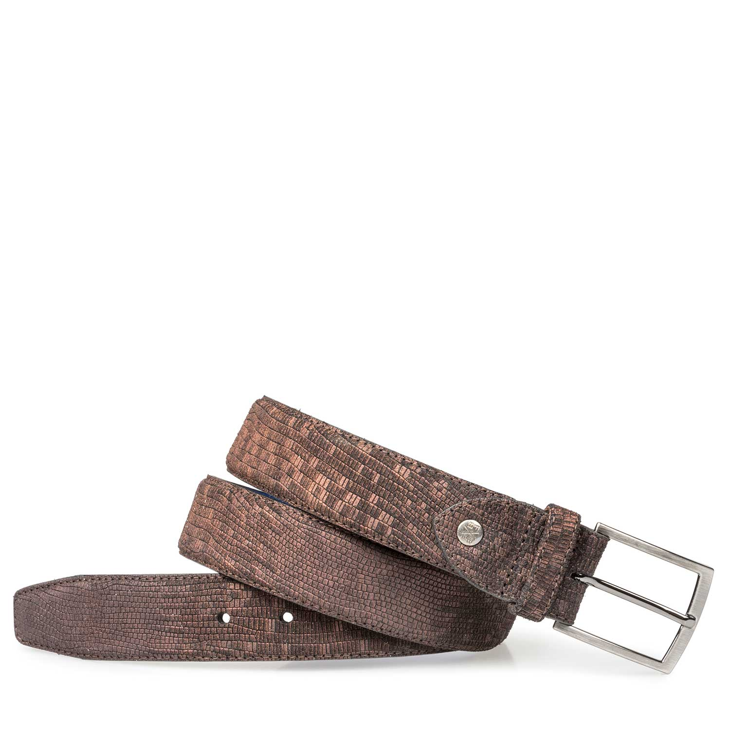 75190/14 - Brown suede leather belt with structural pattern