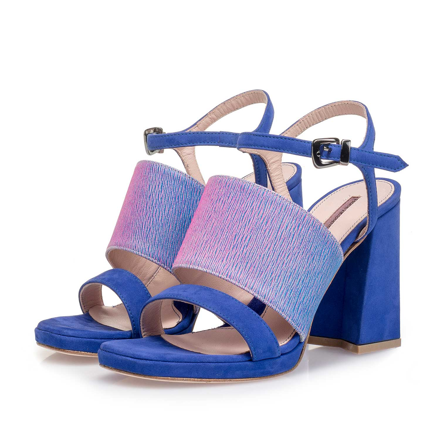 85900/01 - Blue high-heeled suede leather sandal with print