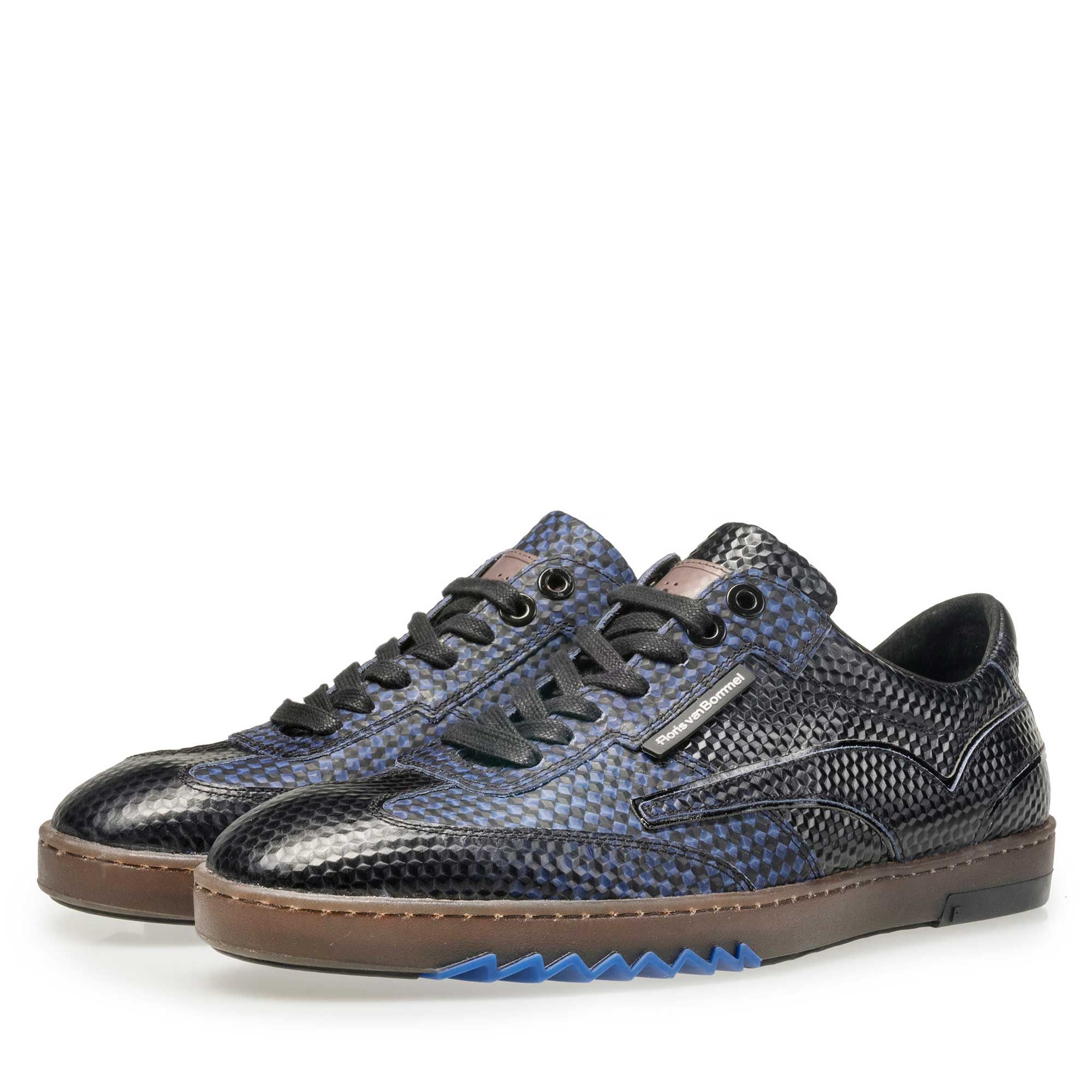 16074/21 - Floris van Bommel men's dark blue sneaker finished with a black print