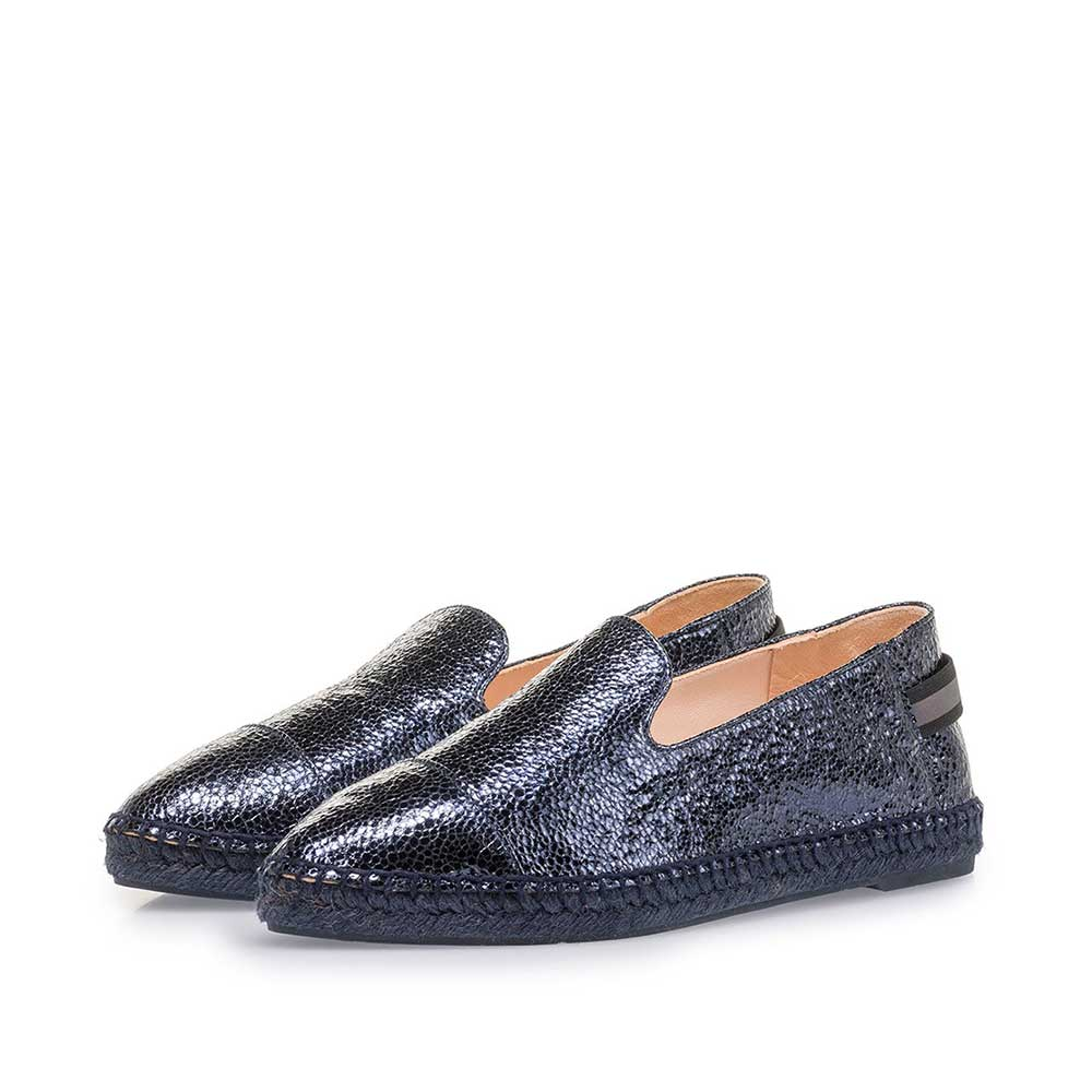 85420/02 - Dark blue leather espadrilles with metallic print