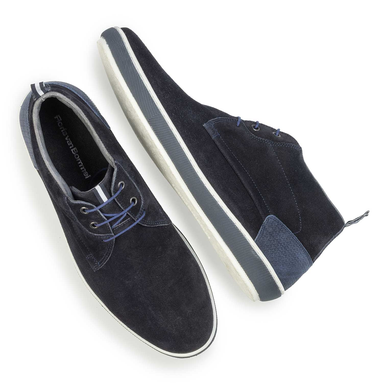 10989/05 - Dark blue suede leather lace shoe