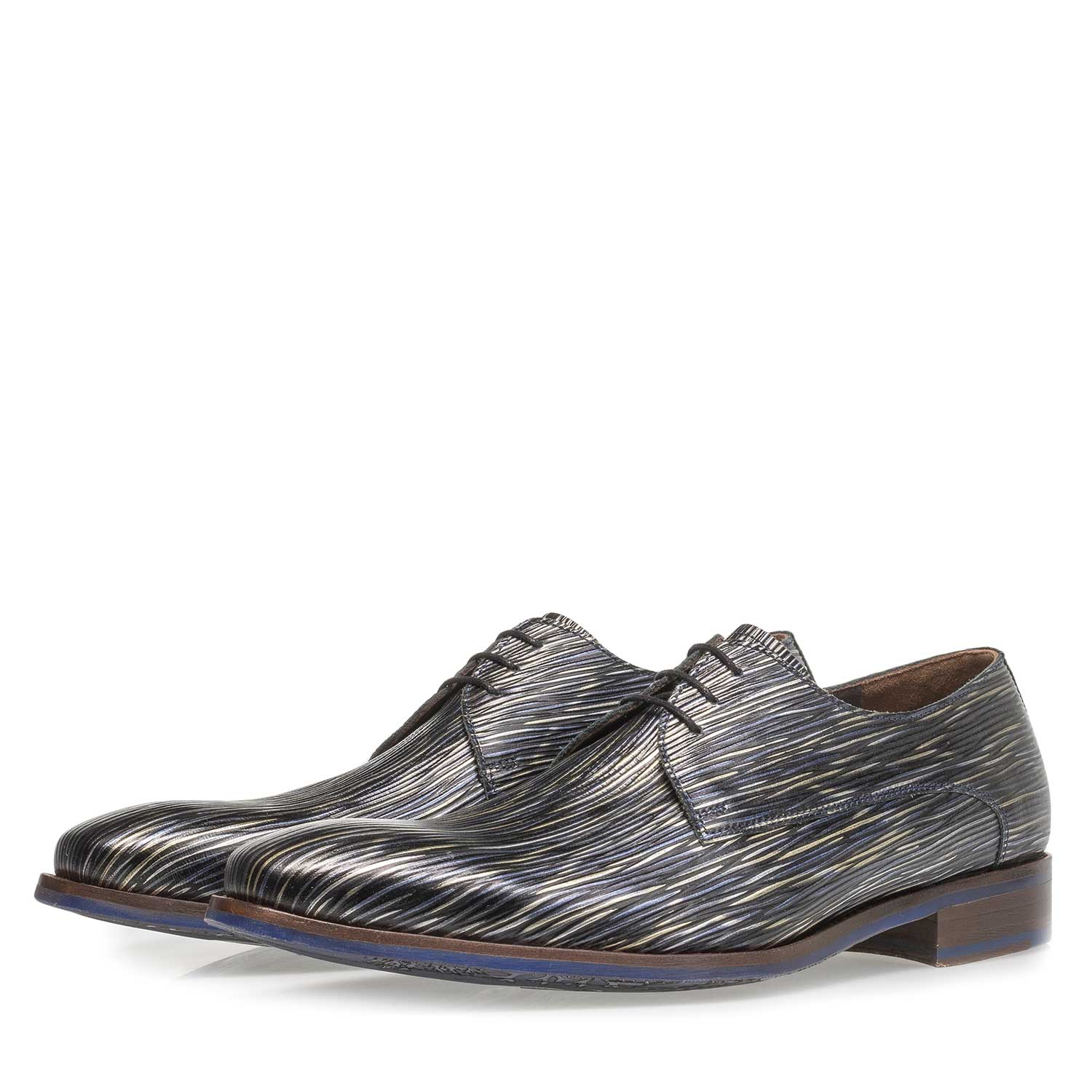 18159/08 - Dark blue lace shoe with striped metallic print