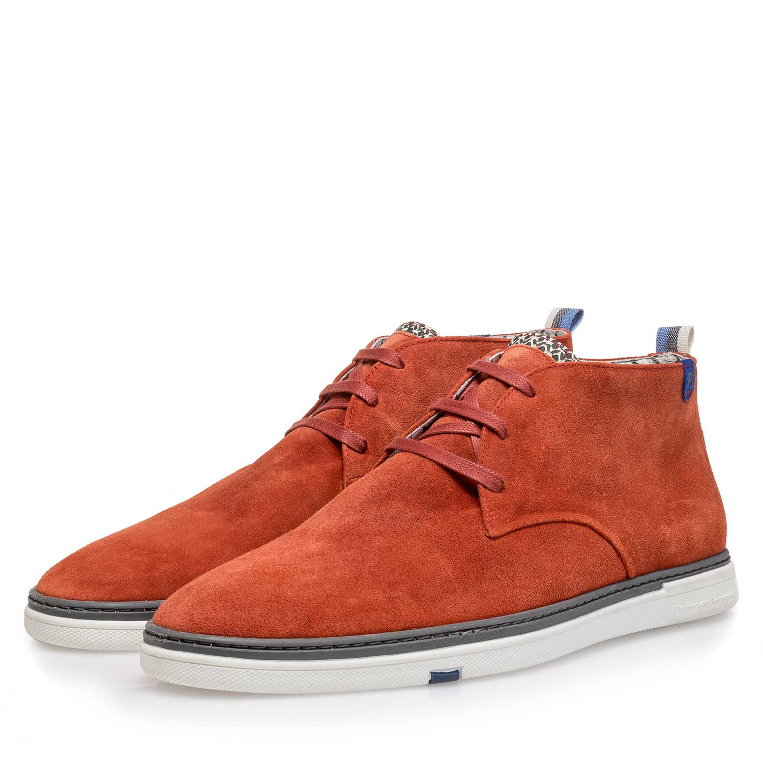 10502/04 - Orange-coloured slightly buffed suede leather boot