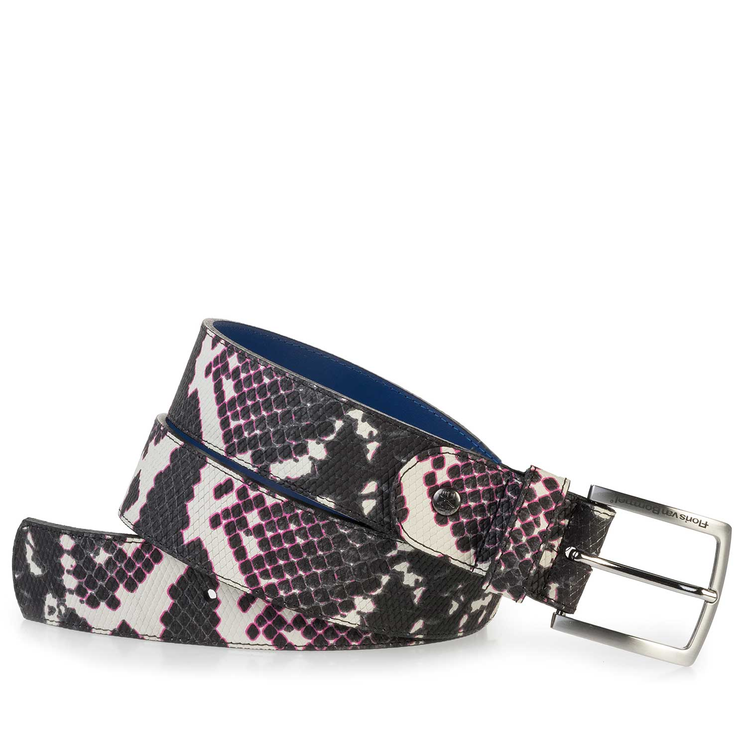 75184/18 - White leather belt with a black snake print
