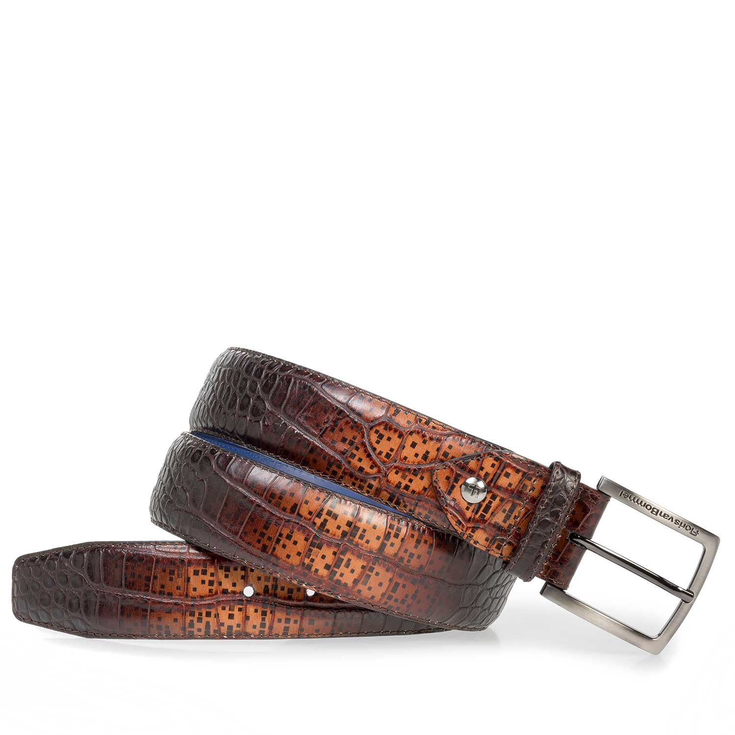 75202/24 - Premium cognac-coloured croco leather belt
