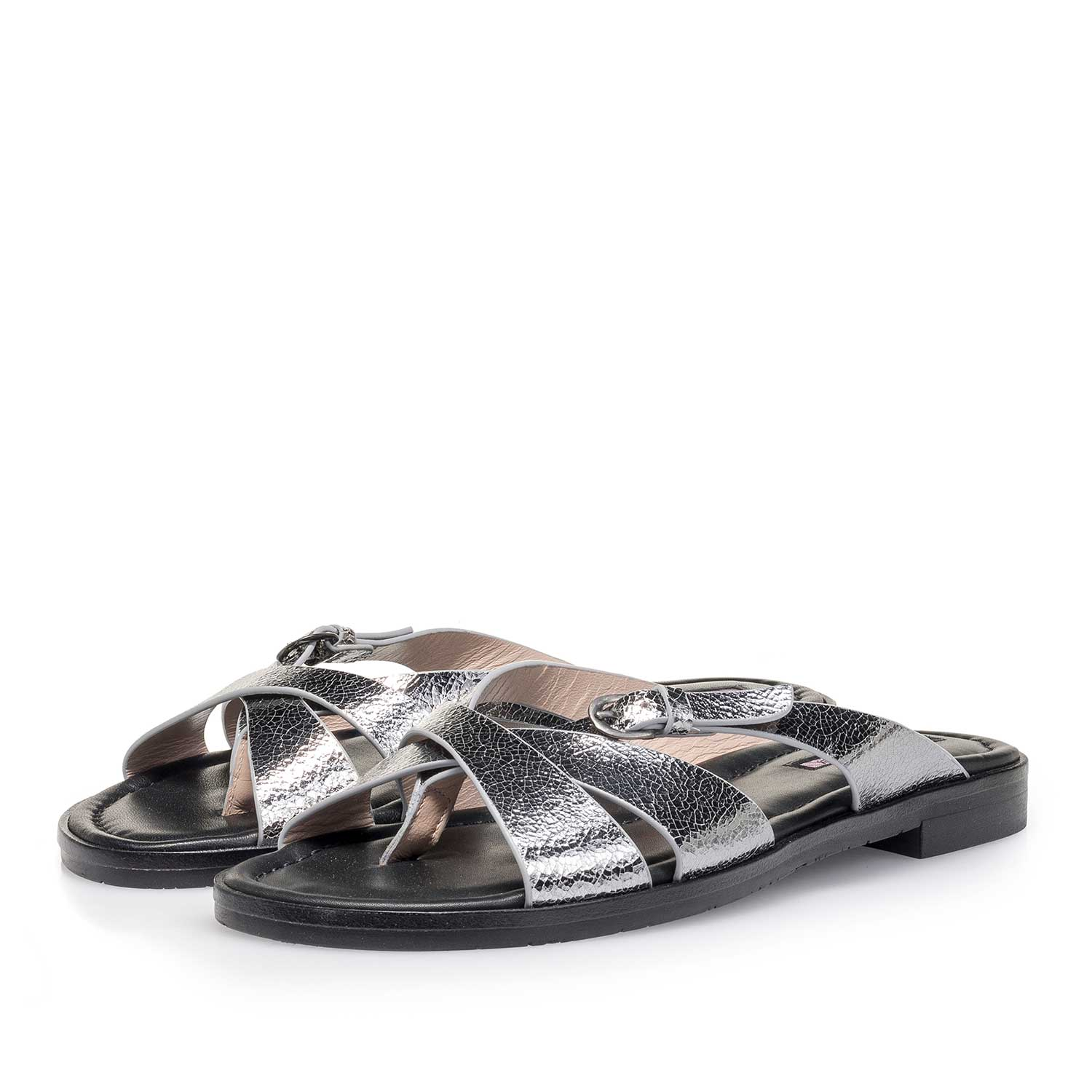 85911/06 - Silver metallic leather slipper with craquelé effect