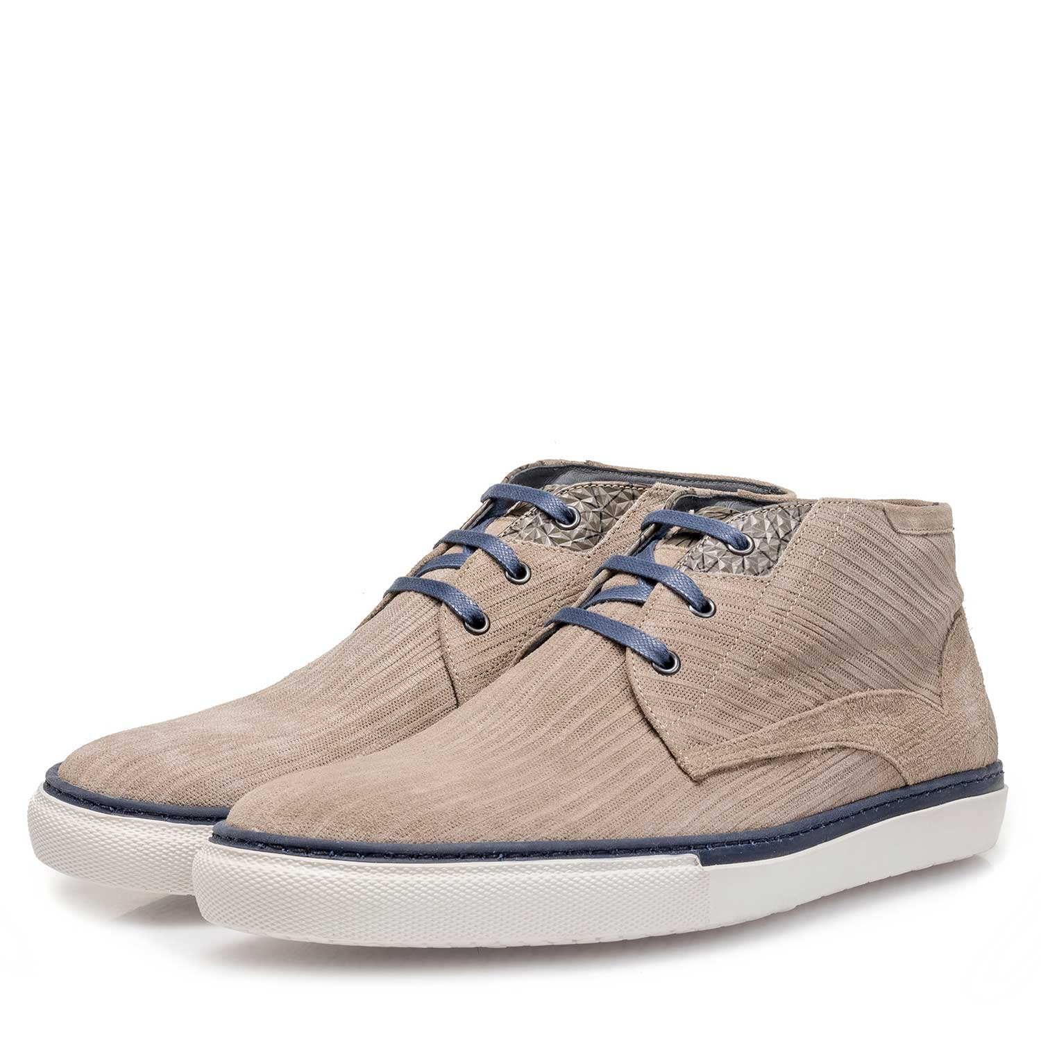 10079/07 - Taupe-coloured calf suede leather lace shoe