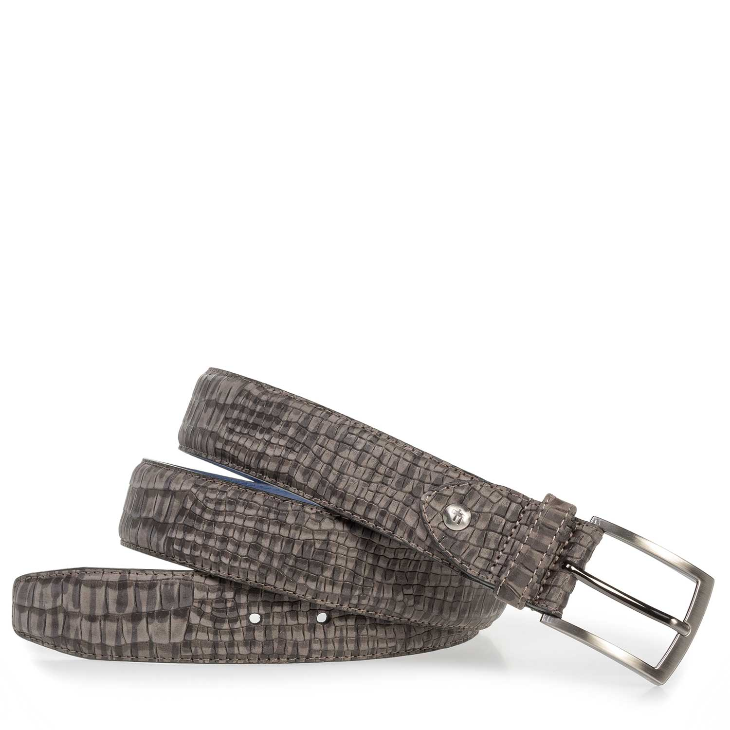 75201/36 - Dark grey nubuck leather belt with croco print