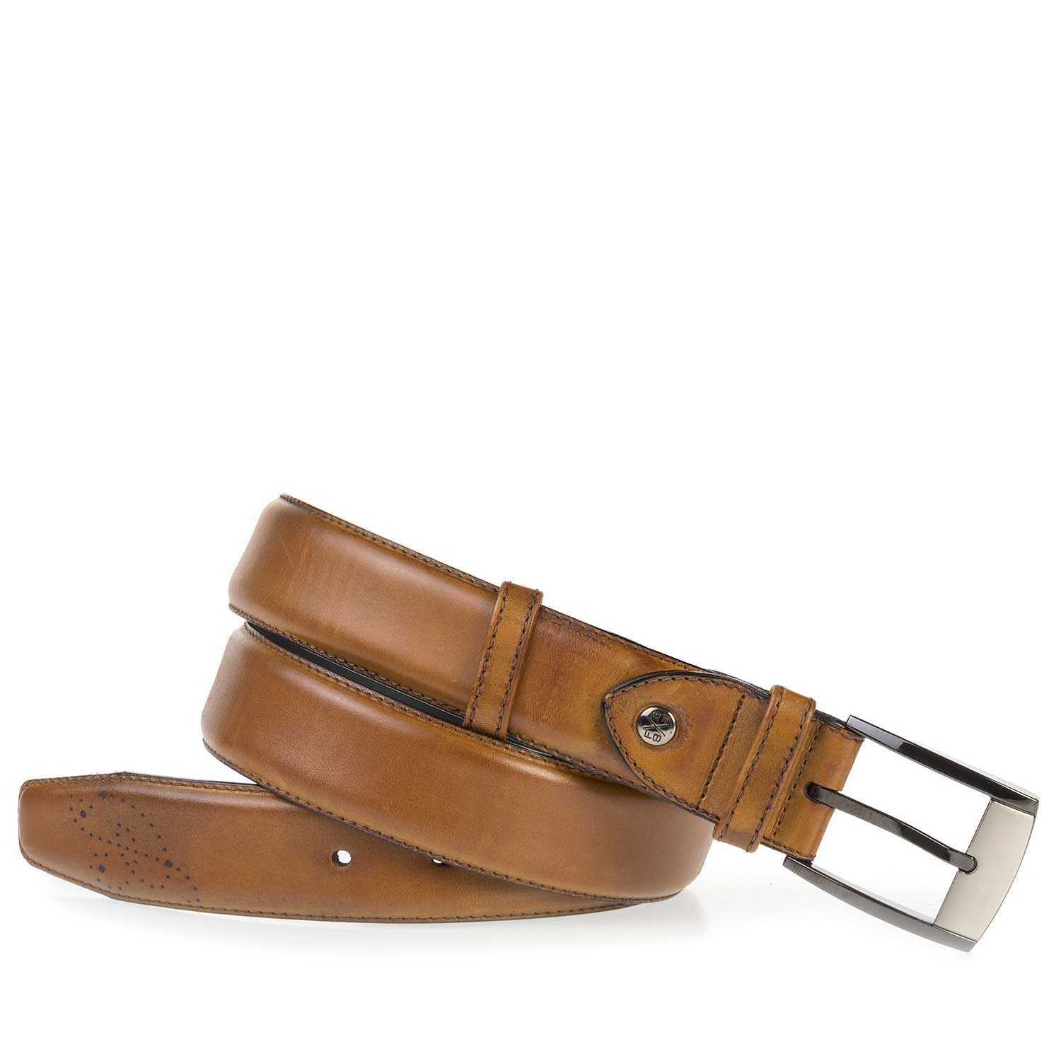 75177/04 - Cognac-coloured, perforated leather belt