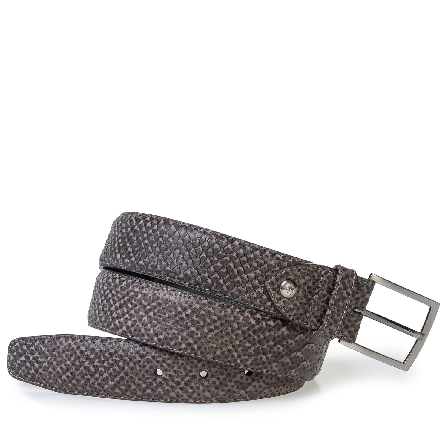 75200/67 - Dark grey leather belt with snake print