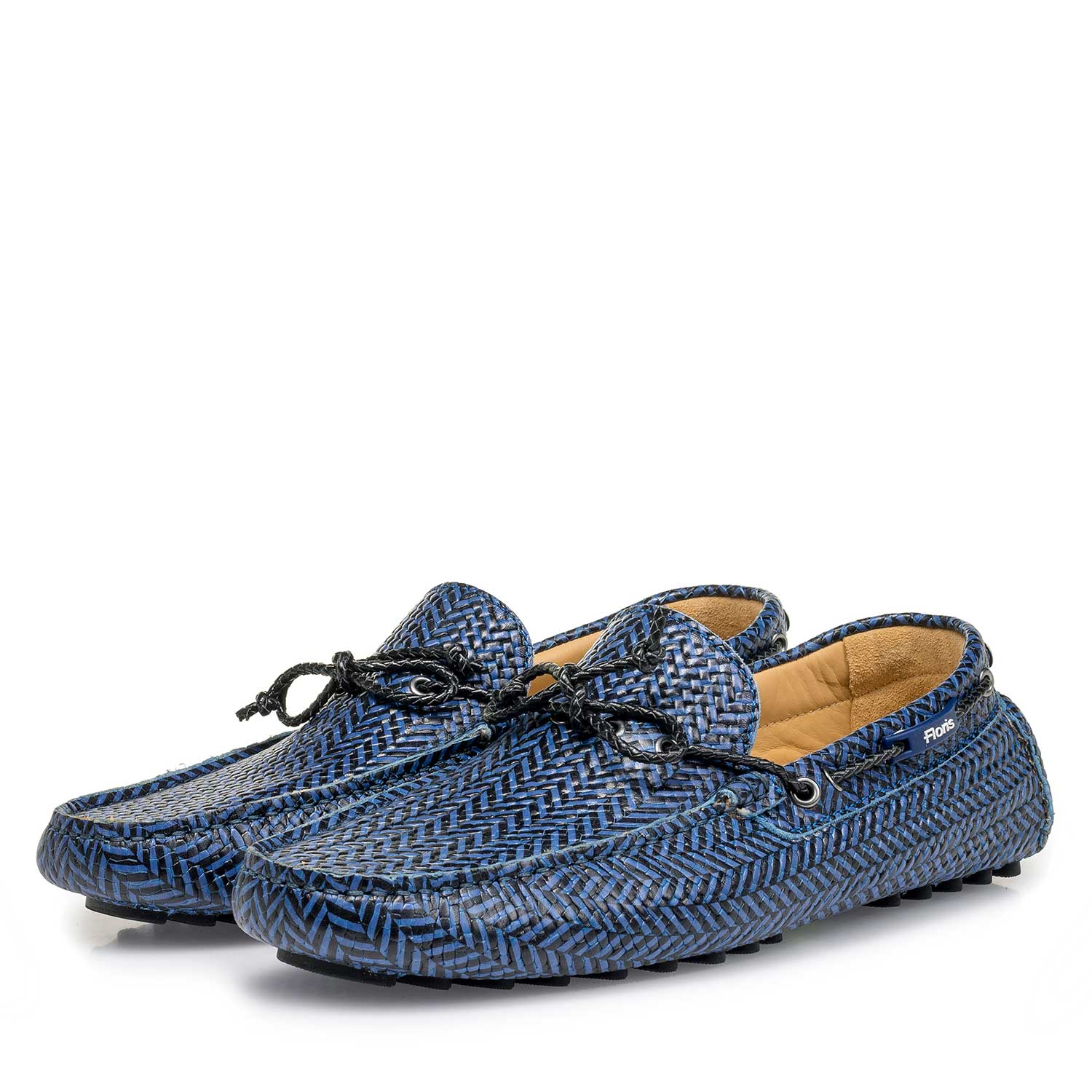 15214/06 - Blue-black printed calf leather moccasin