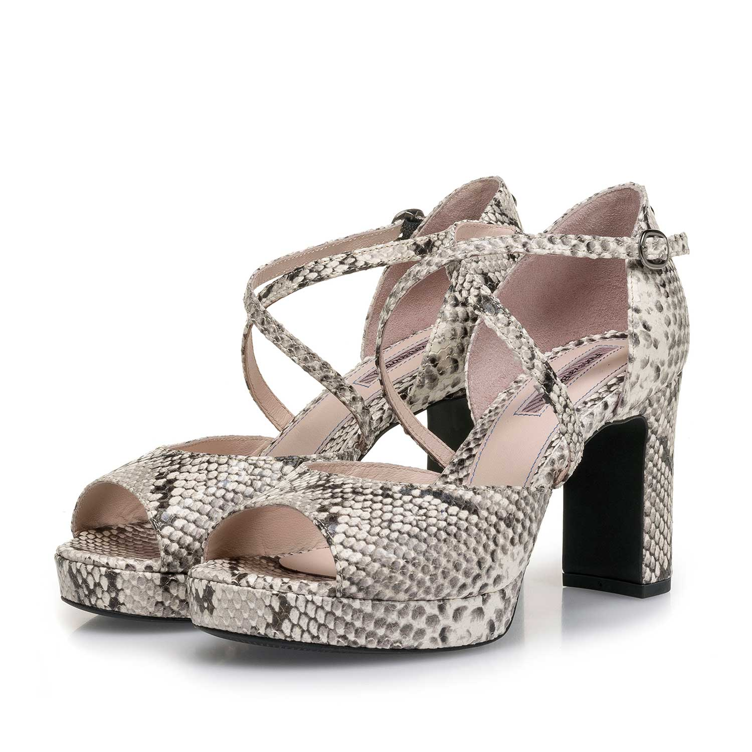 85903/00 - White snake print high-heeled leather sandal