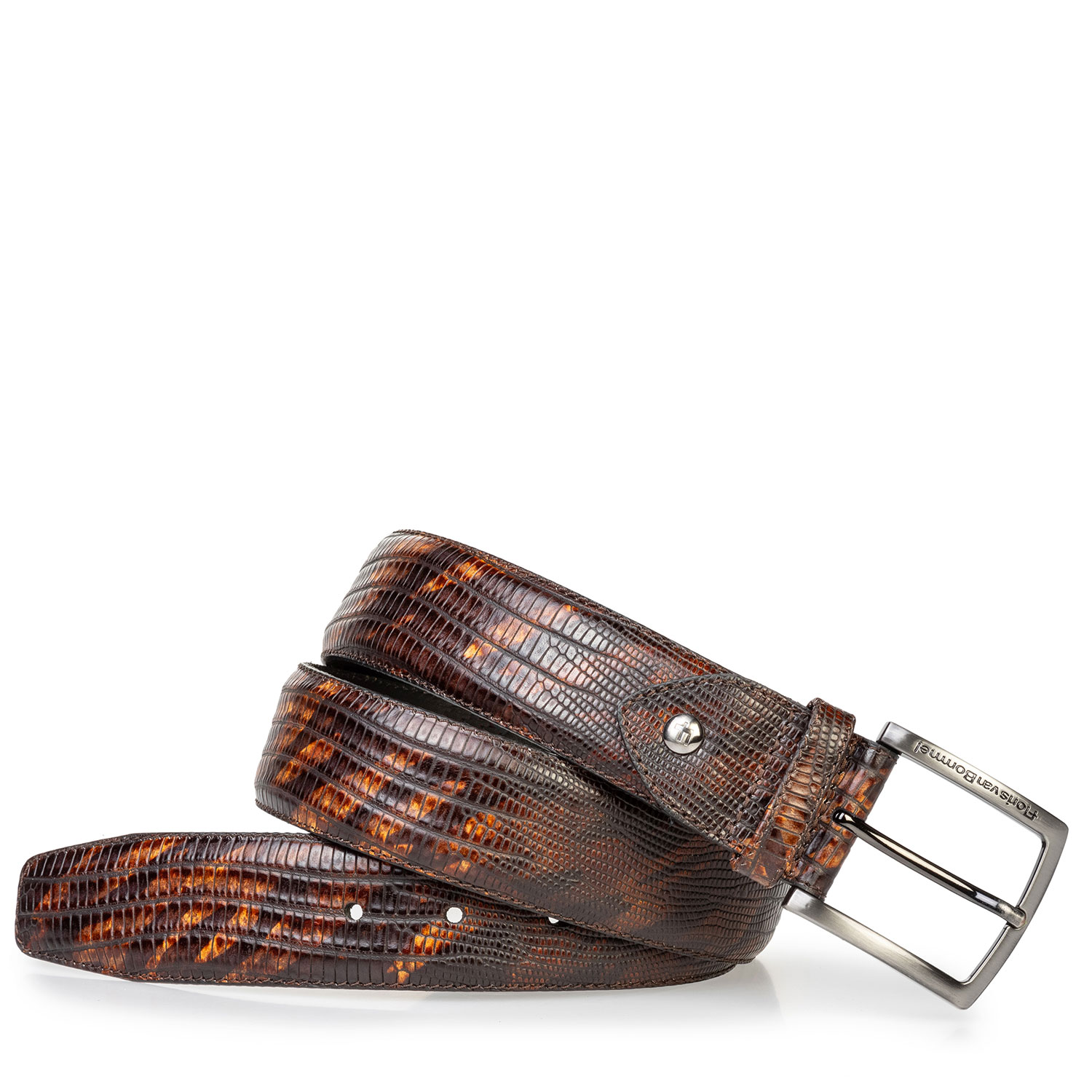 75202/74 - Leather belt lizard print dark cognac