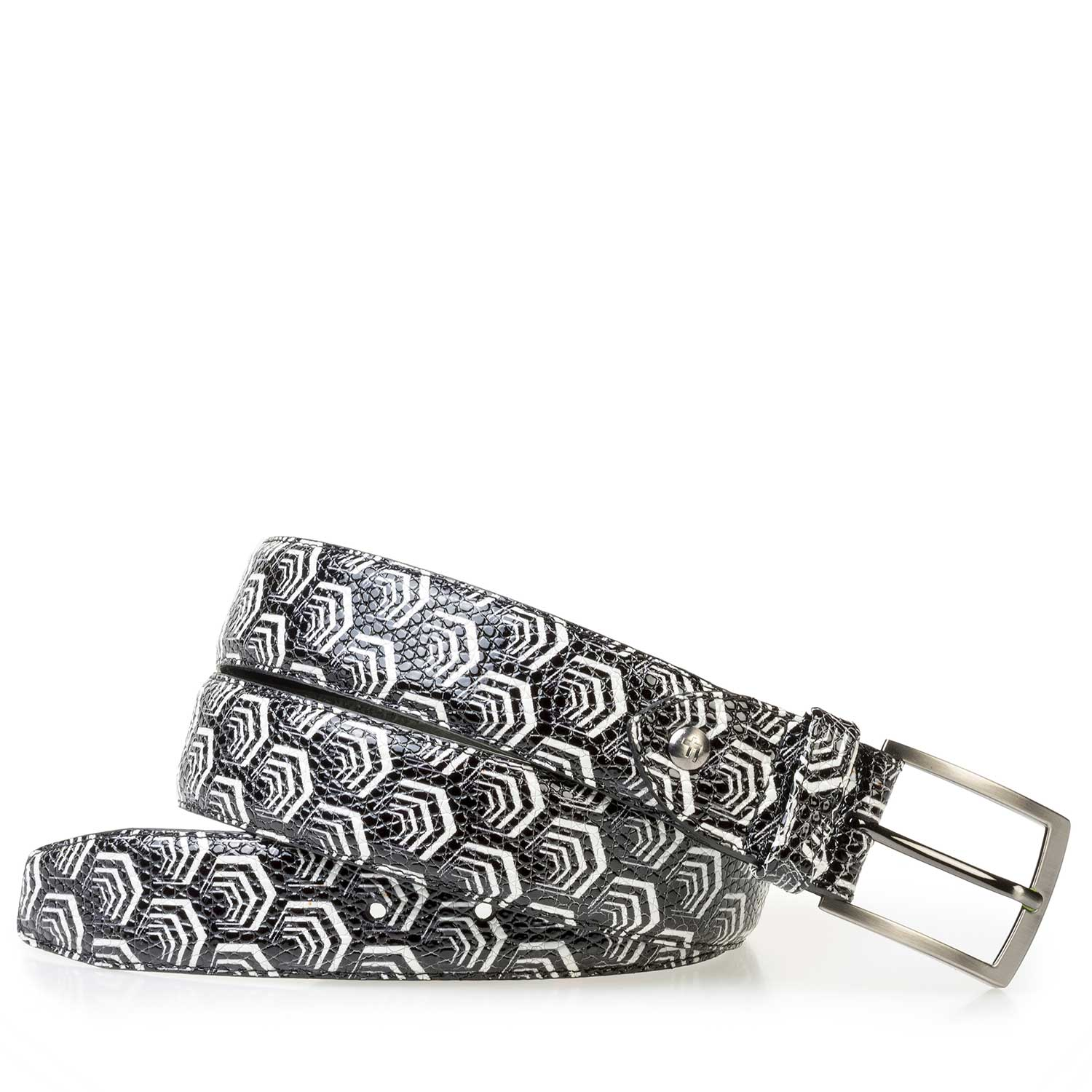 75200/11 - White calf leather belt with black pattern