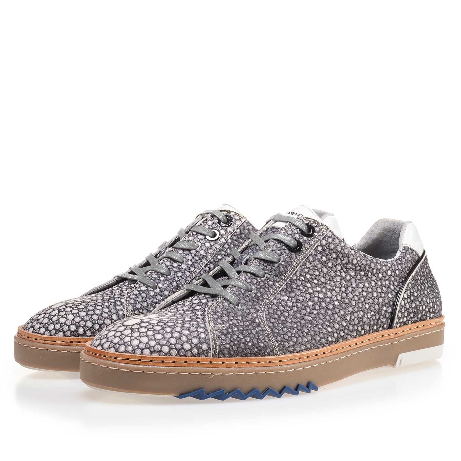 14057/00 - Grey, patterned leather sneaker
