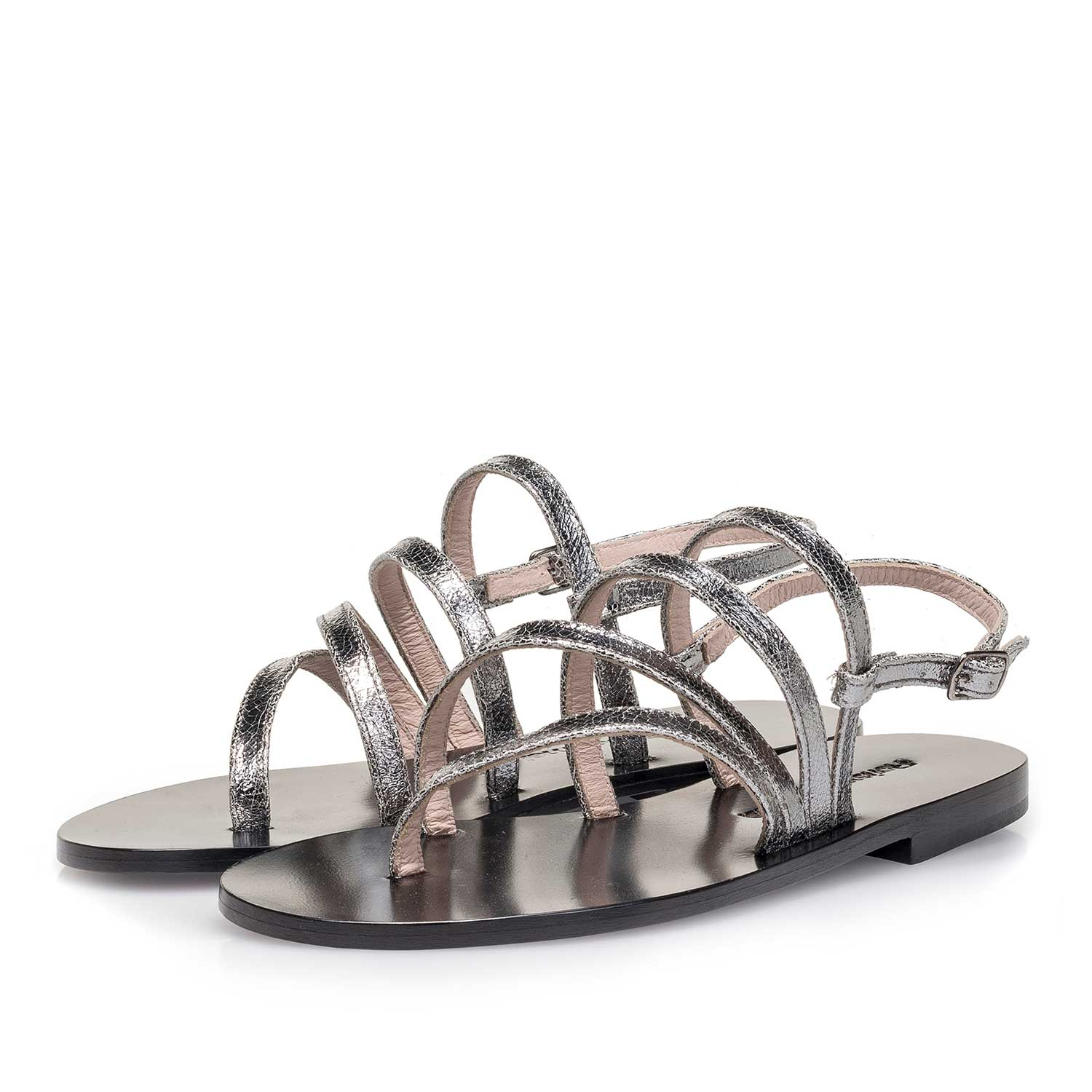 85905/01 - Silver metallic leather sandal with craquelé effect